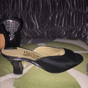 Salvatore Ferragamo Satin Mules - Embellished Heel